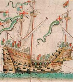 Caption: Illustration of the carrack Mary Rose, which sunk off the coast of England in 1545. It's been remarkably preserved, thanks in part to resting in an anaerobic environment. , Credit: Original illustration by Anthony Anthony. Reproduction courtesy of Wikimedia Commons.
