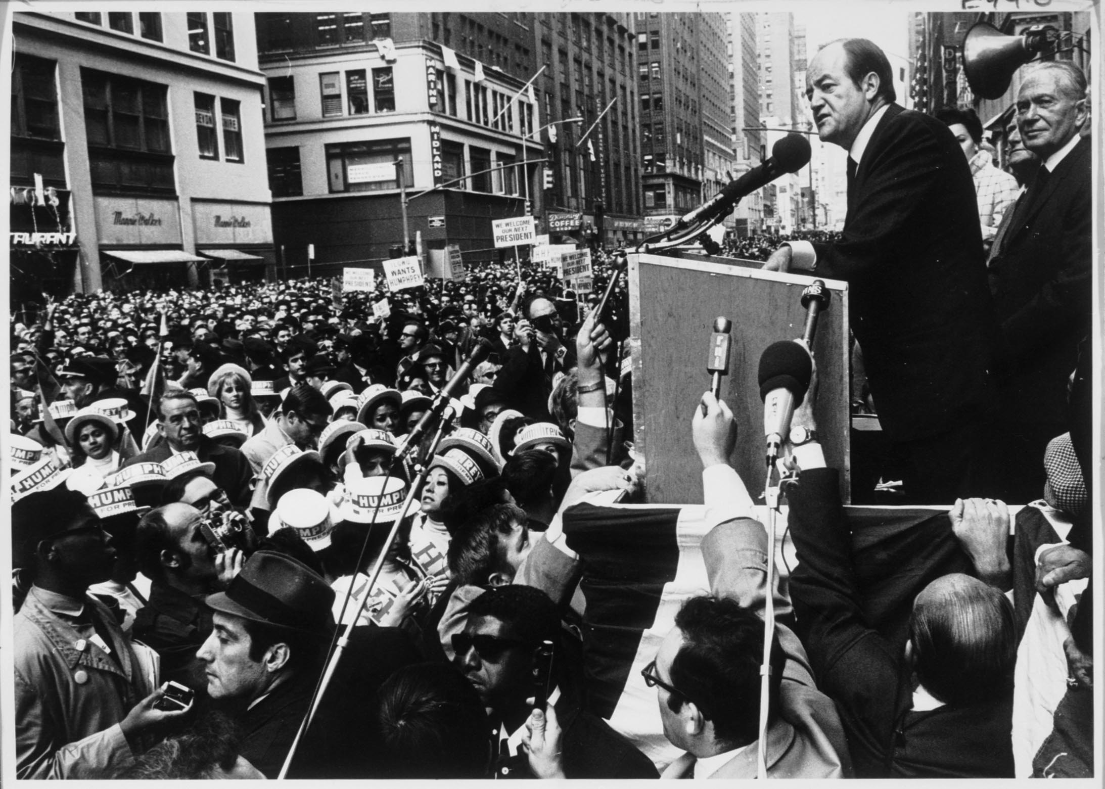 Caption: Hubert Humphrey in a presidential stump speech.