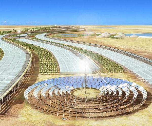 Caption: Sahara Forest Project's greenhouse-power plant hybrid proposal , Credit: Sahara Forest Project, 2009
