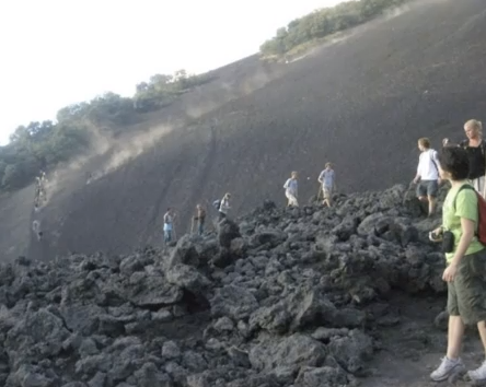 Caption: Recording feet crunching up a lava mountain. Near Antigua, Guatemala, October 2010.