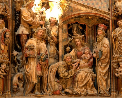 Caption: Los Reyes Magos, en el retablo mayor de la Seo de Zaragoza