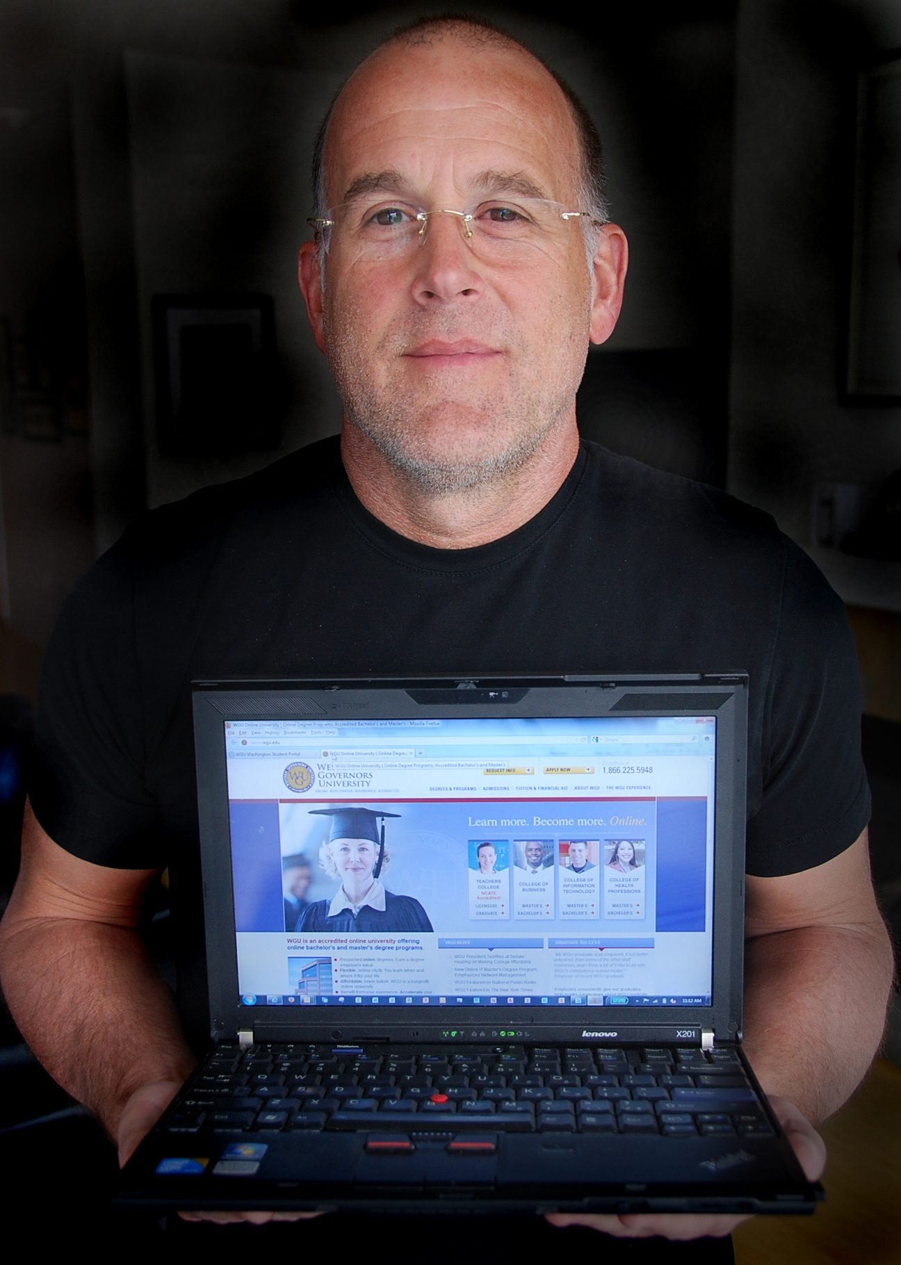 Caption: Gary Hotsfall, a student at Western Governor's University Washington. WGU is a network of nonprofit online universities., Credit: Stephen Smith