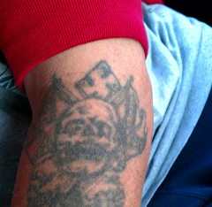 Caption: Bruce's tattoo, Credit: Emily Hsiao