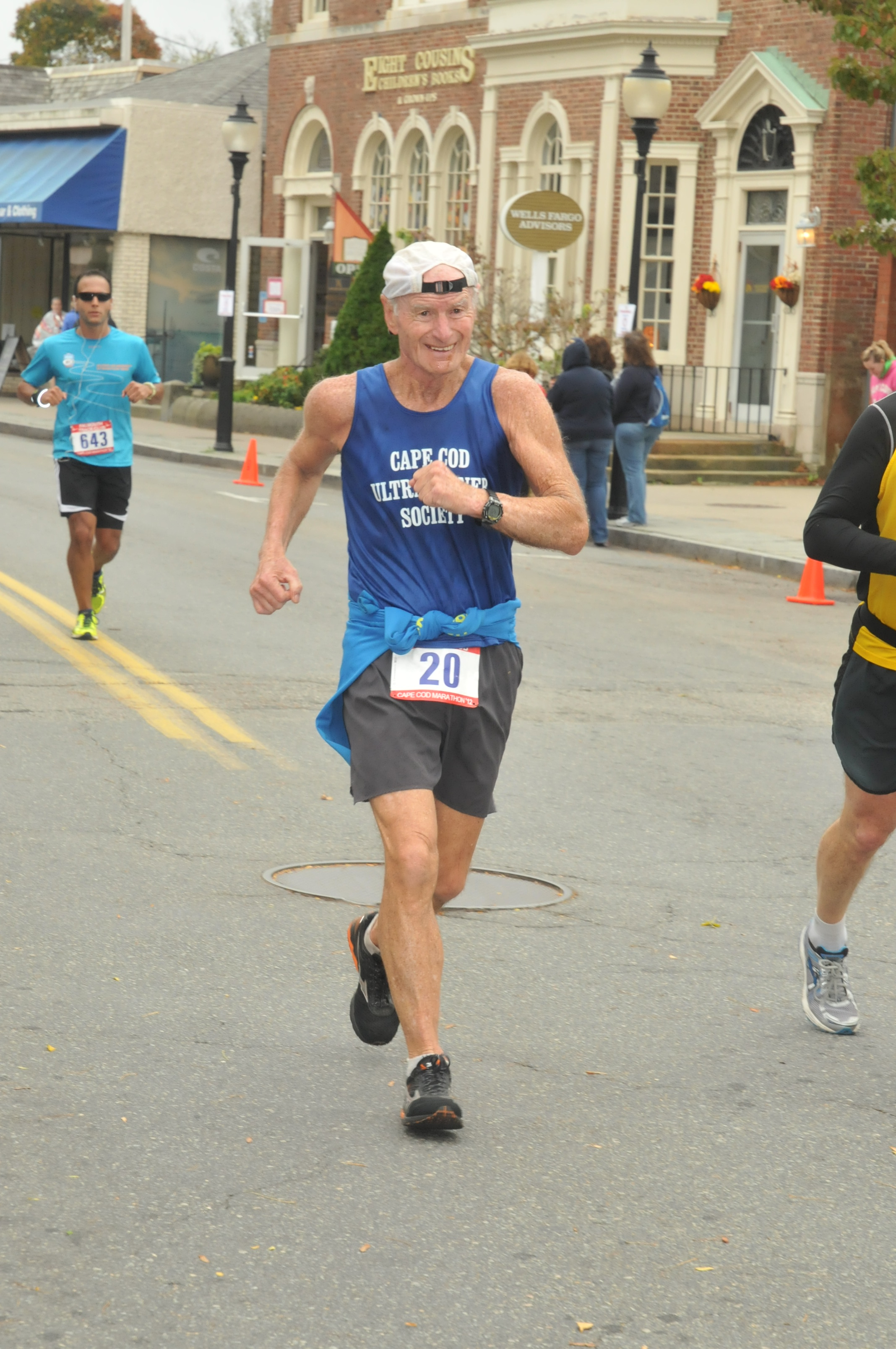 Caption: Pete Stringer, approaching the finish of his 212th marathon. , Credit: Photo-Chambers