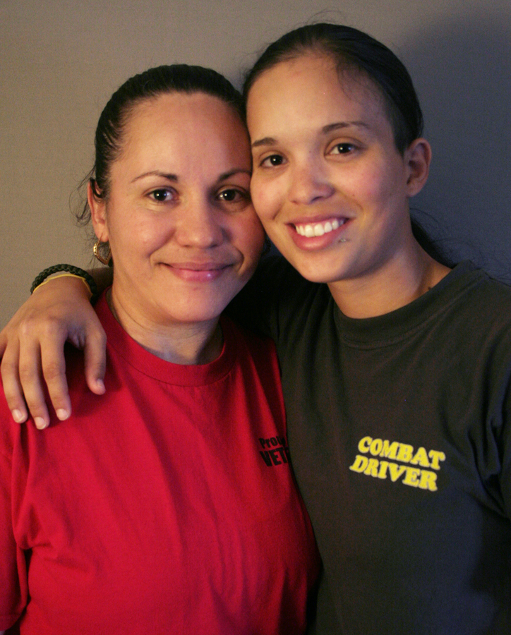 Caption: Sgt. Marilyn Gonzalez (L) and her daughter Spc. Jessica Pedraza (R).