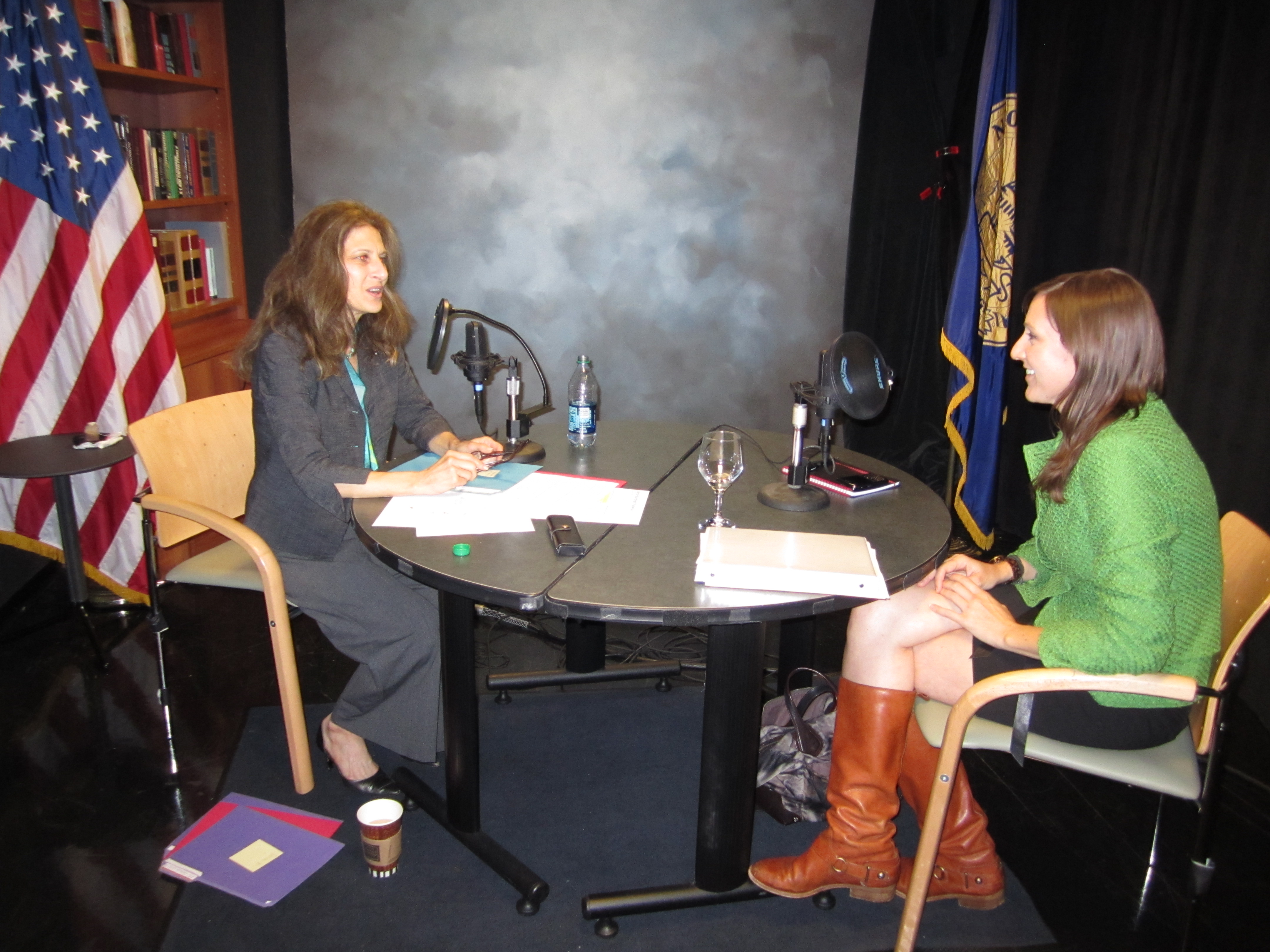 Caption: Joan Michelson (l) of Green Connections Radio and Jaime Carlson (r) of the US Dept of Energy