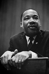 Caption: Martin Luther King press conference, Credit: Marion S. Trikosko