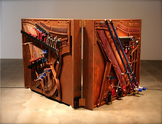 "Caption: Trimpin's Player Piano, ""Klavier-Stücke"", Credit: Photo by Anna Sparks; Winston Wachter Fine Art"