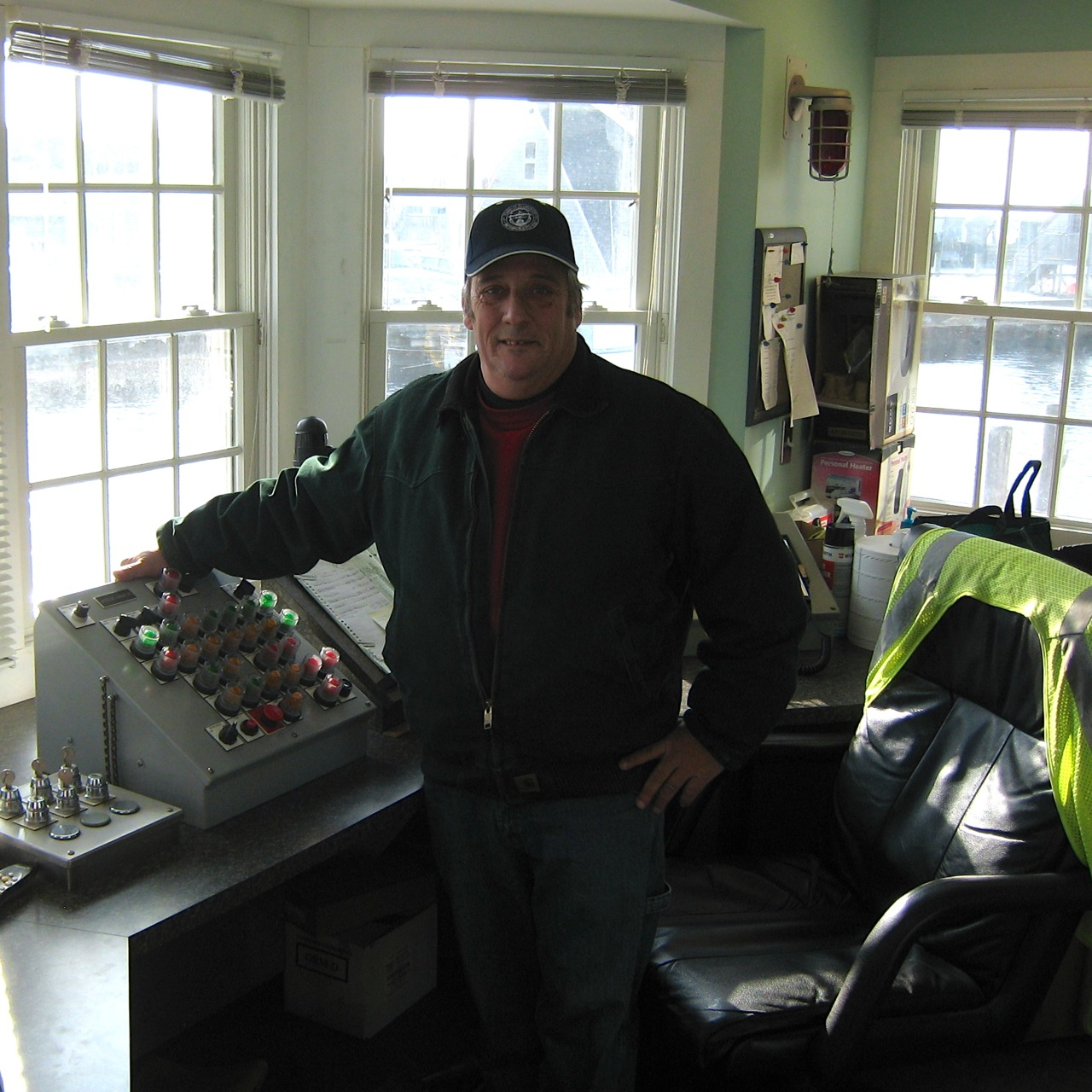 Caption: Drawbridge tender, Mike Botelho at the controls.