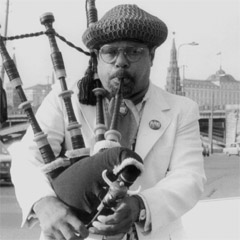Caption: Jazz bagpiper Rufus Harley