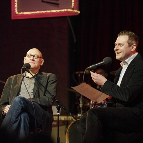 Caption: Author David Shields & Guest Host Luke Burbank, Credit: Jennie Baker for Live Wire!