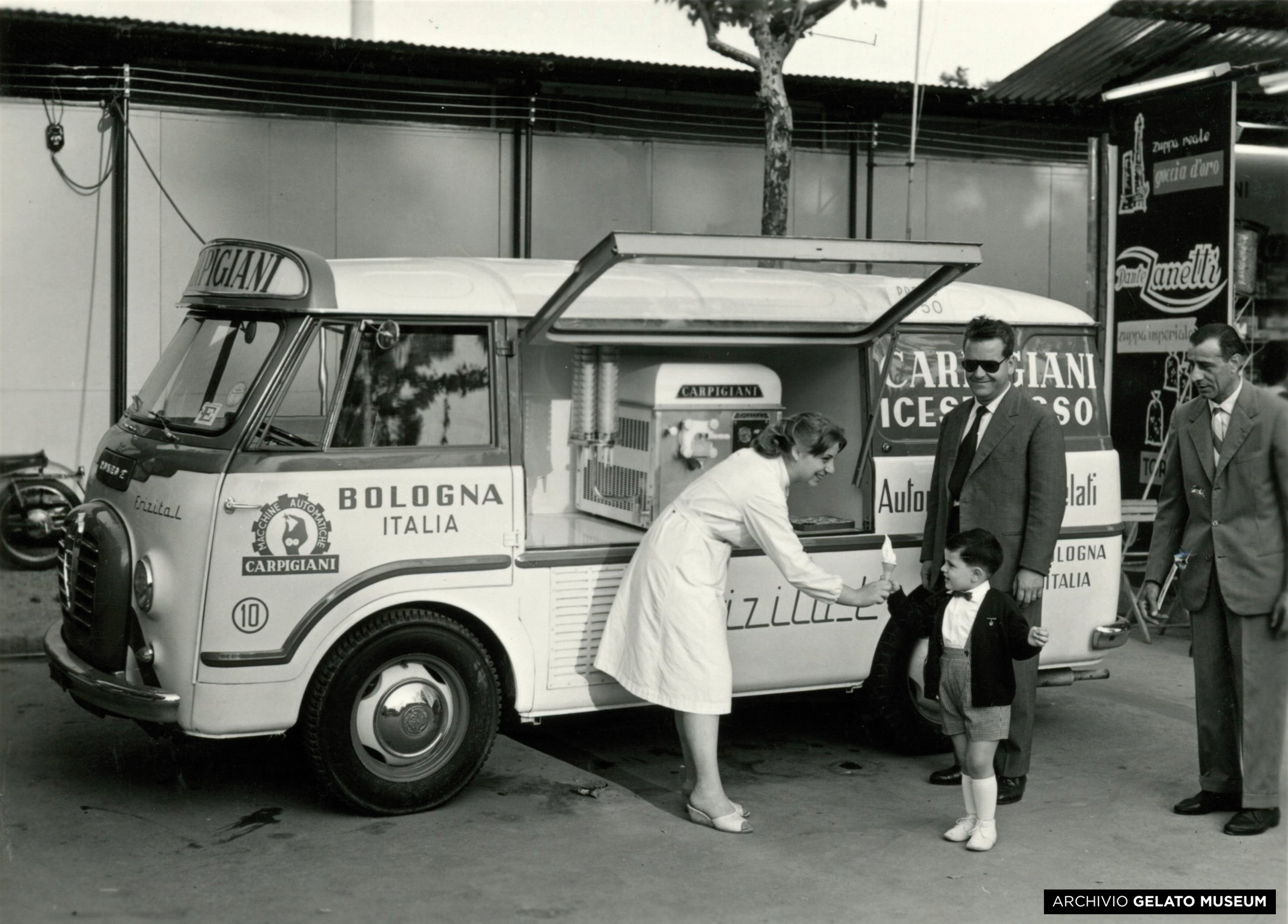Caption: Gelato served from a Carpigiani-made gelato truck at the Bologna fair in 1958, Credit: Gelato Museum