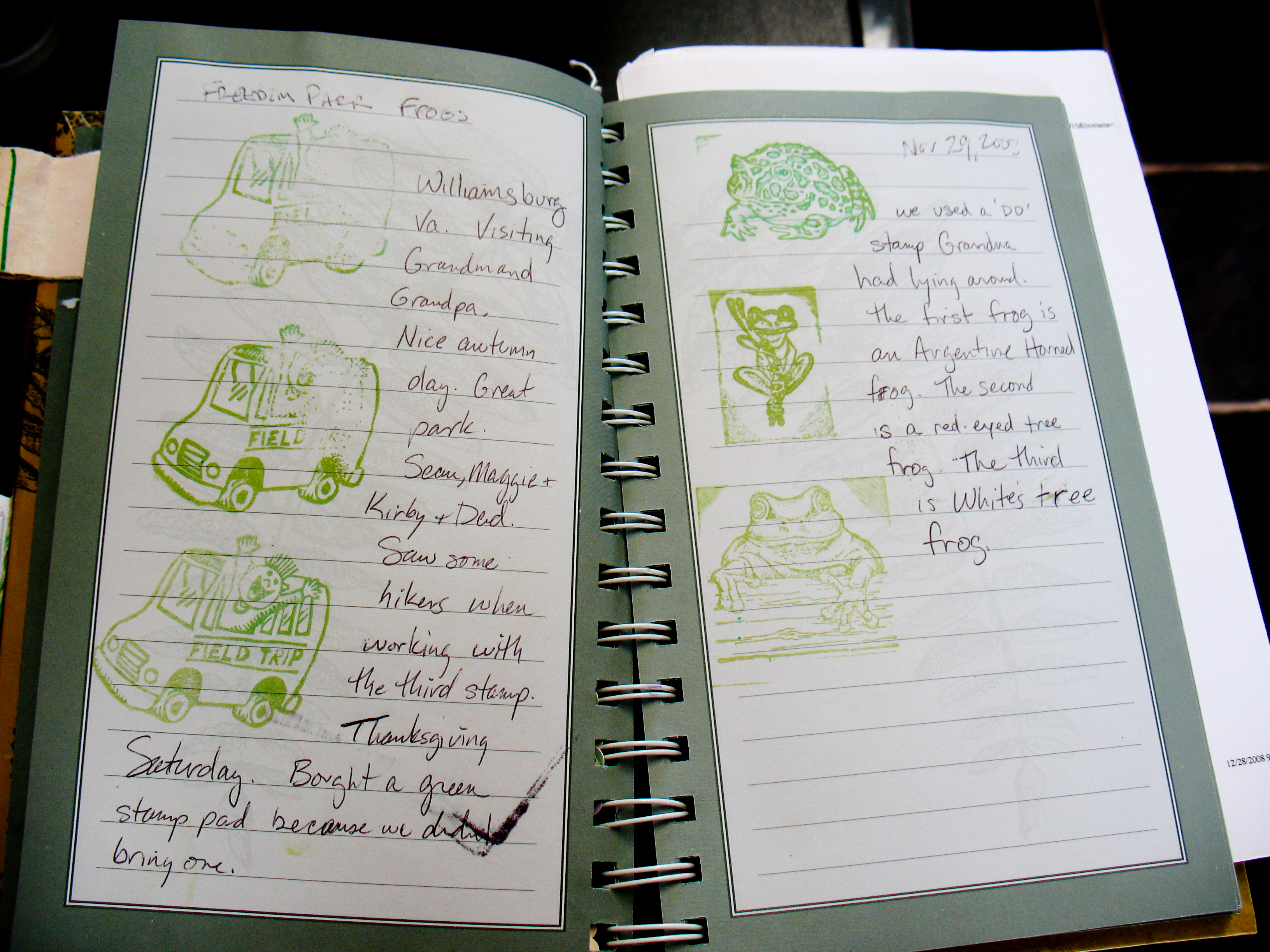 Caption: The Hartigan family's journal is full of stamps and memories of their letterboxing outings in Virginia, Ireland, the Pacific Northwest and other destinations. , Credit: Nancy Greenleese