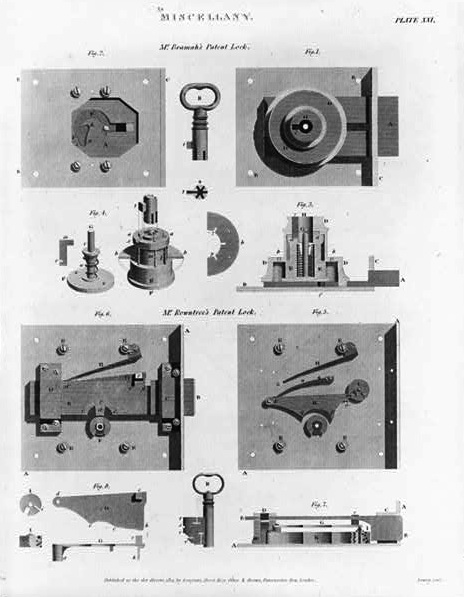 Caption: 1814 wood engraving of two types of locking mechanisms., Credit: (Library of Congress).