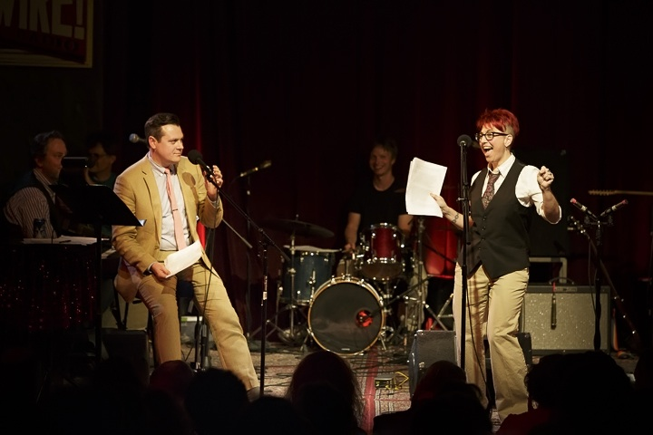 Caption: Author Annalee Newitz and host Luke Burbank, Credit: Jennie Baker for Live Wire!