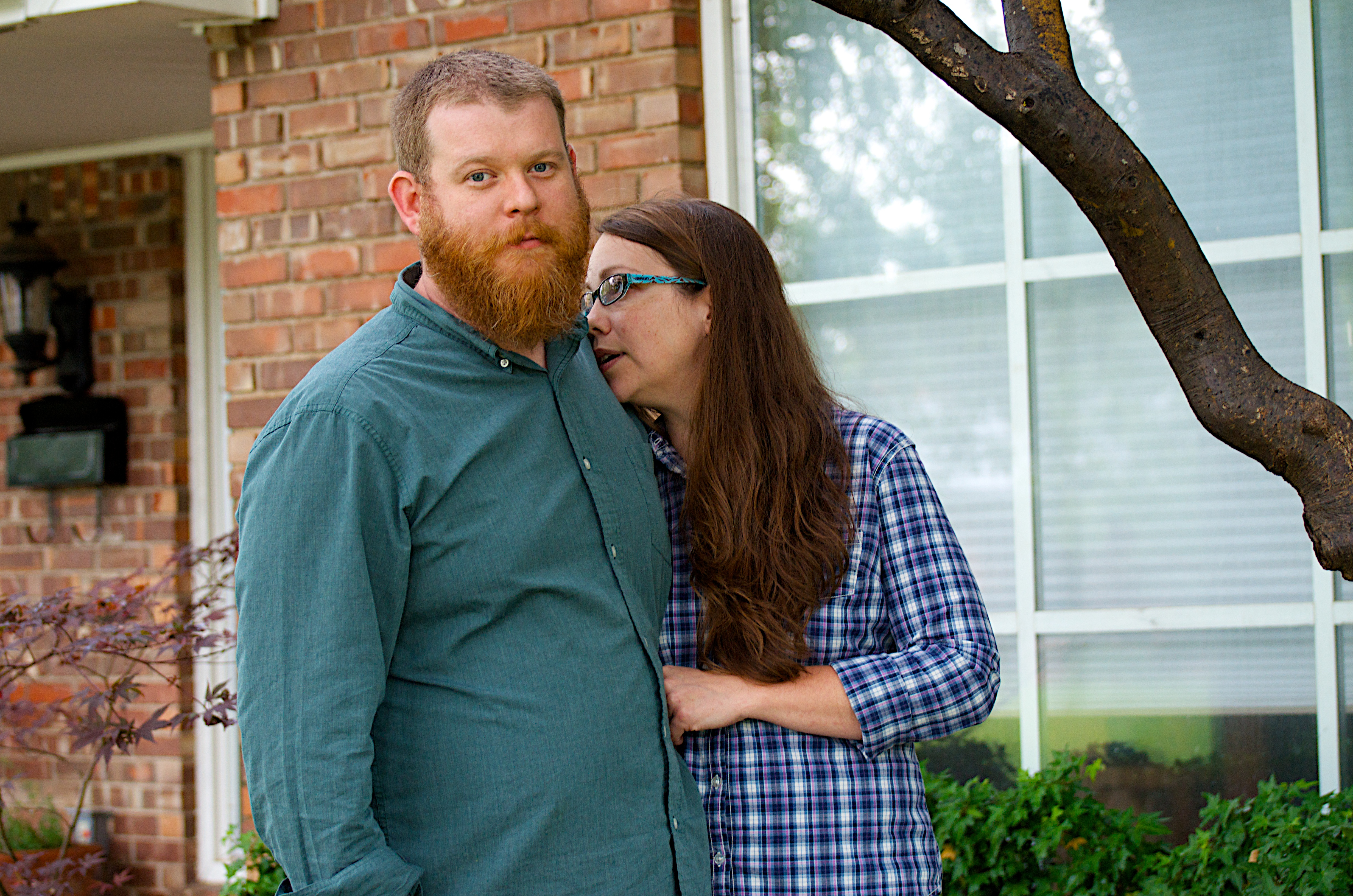 Caption: Cullen and Sara Bieger outside their home in Norman, Oklahoma.  When the tornado hit, Cullen was at The Warren theater in Moore, where he had tickets to see Star Trek into Darkness. , Credit: Sheilah Bright