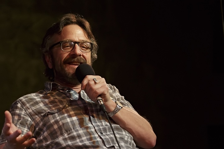 Caption: Host of the WTF podcast, Marc Maron, Credit: Jennie Baker for Live Wire!