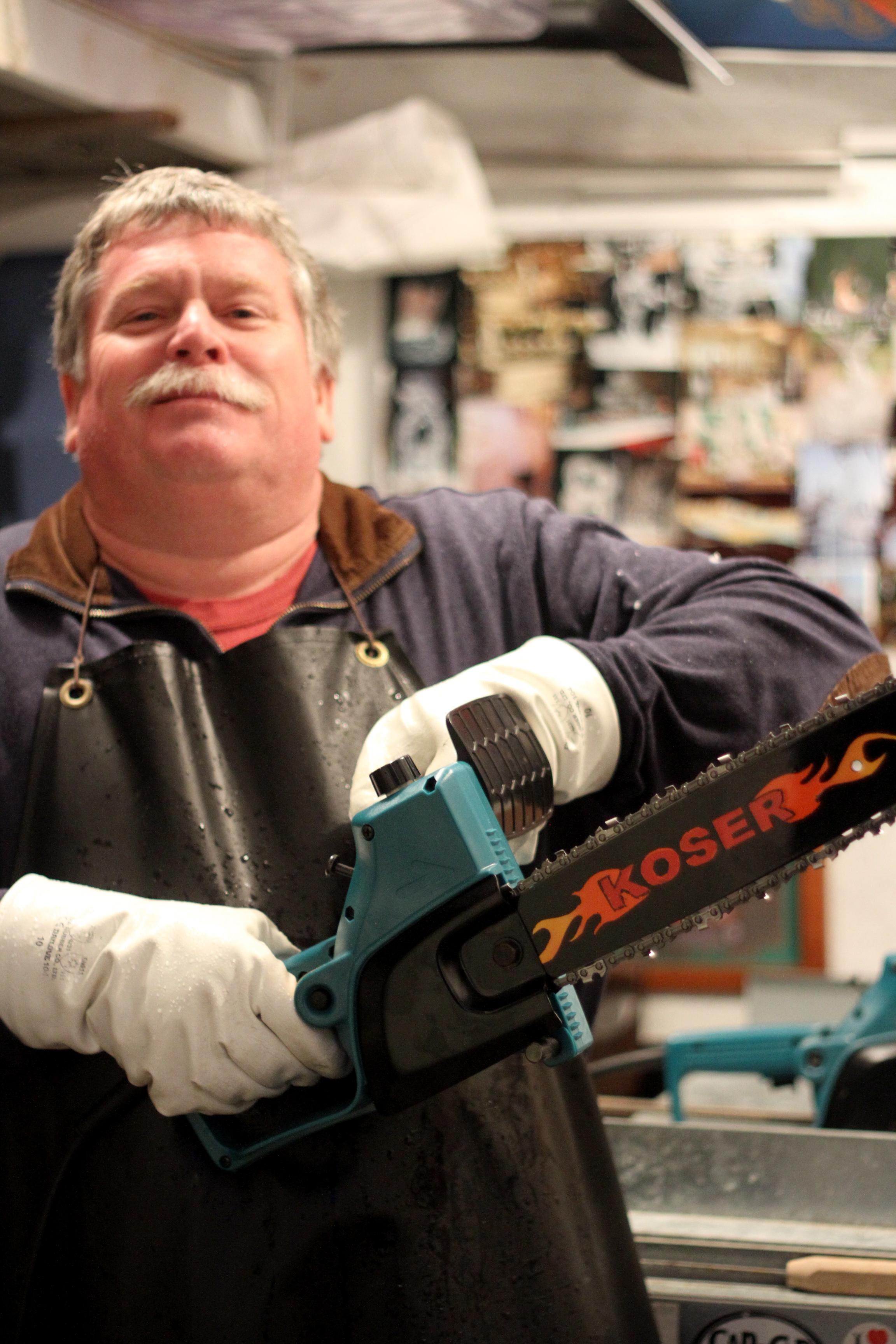 Caption: Chip Koser in his workshop.