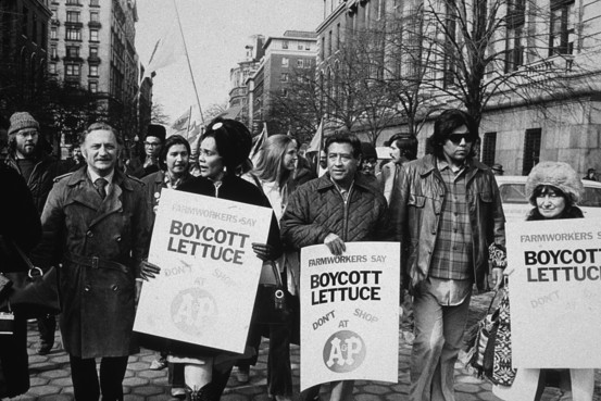 Caption: Photo from Wall Street Journal, October 12, 2009. Cesar Chavez (third from right) and Coretta Scott King (fourth from right) lead a lettuce boycott march in New York City. circa 1973., Credit: Getty Images