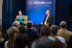 Caption: Christiana Figueres, Executive Secretary, United Nations Framework Convention on Climate Change with Host Greg Dalton and audience, Credit: Ed Ritger, Photographer