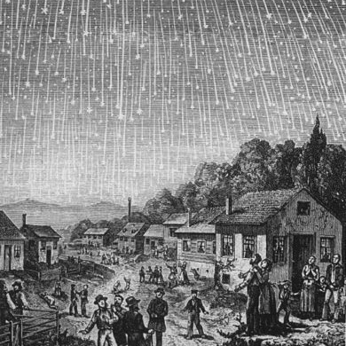 Caption: Depiction of the 1833 Leonid meteor storm, in Bible Readings for the Home Circle (1889).