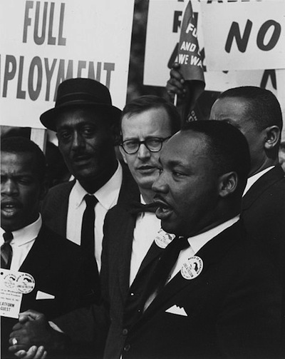 Caption: Rev. Martin Luther King, Jr., at the March on Washington, August 28th, 1963, Credit: National Archives