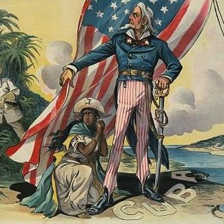 "Caption: ""Save me from my friends!"" Uncle Sam shelters Cuba, illustration from Puck, 1898."