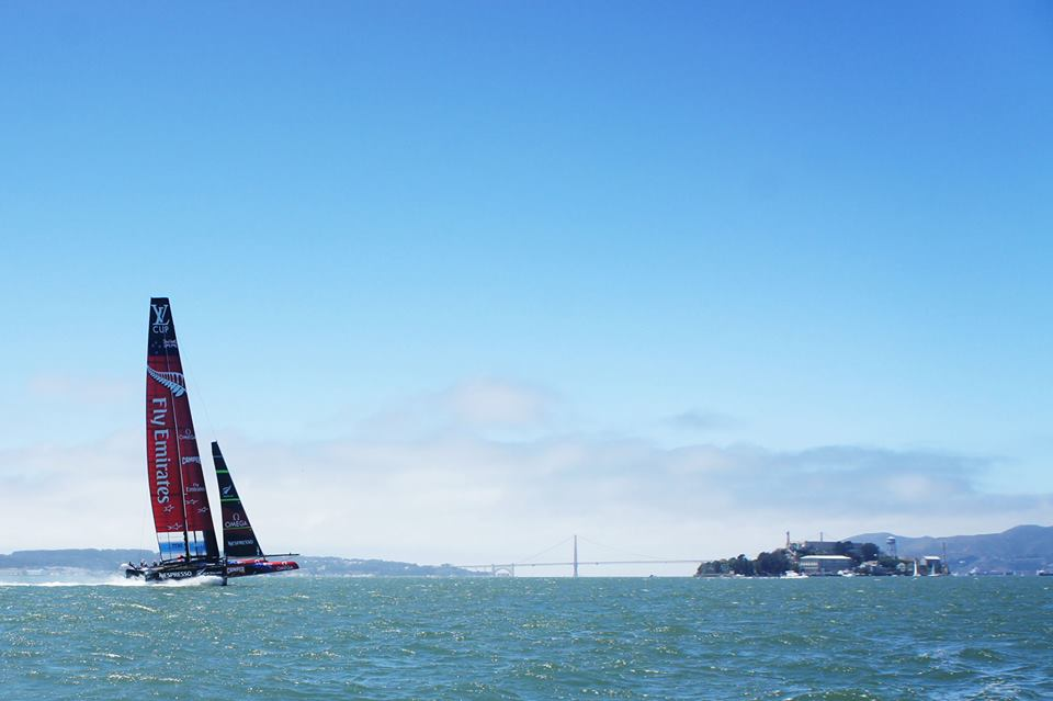 Caption: America's Cup on the San Francisco Bay