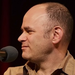 Caption: Comedian Todd Barry, Credit: Jennie Baker for Live Wire!
