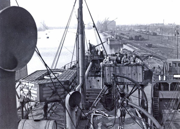 Caption: Crew members aboard SS Norco in England during WWII. , Credit: The Marstal Maritime Museum