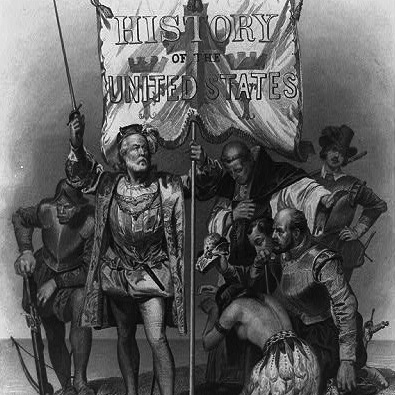 "Caption: Title page of ""History of the United States,"" Vol. 1, showing Columbus with sword and banner., Credit: Library of Congress"