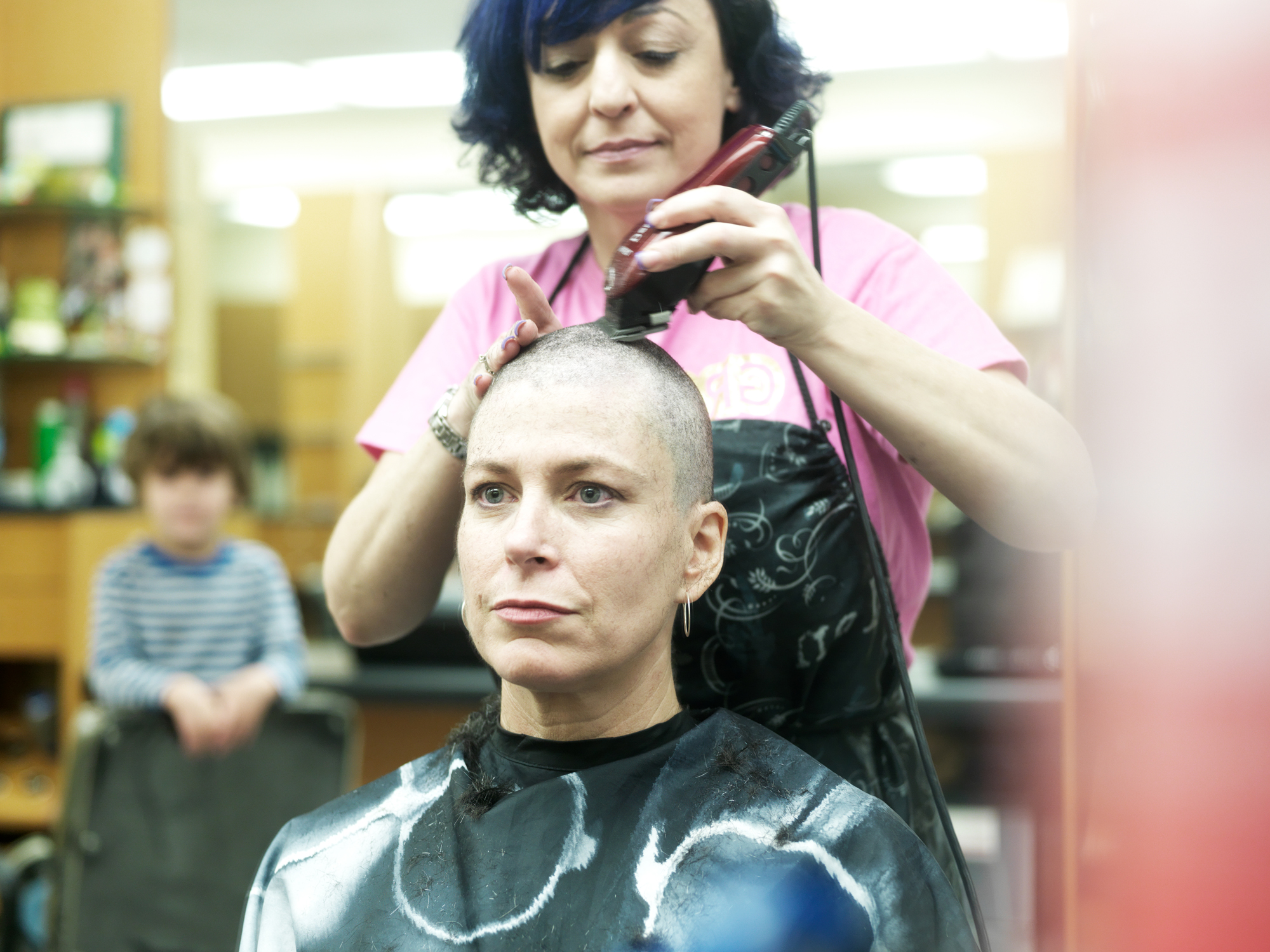 Caption: Katharine's pre-chemo haircut., Credit: Peter Konerko