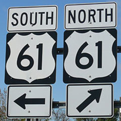 "Caption: North or south, Highway 61 is America's ""Blues Highway"""