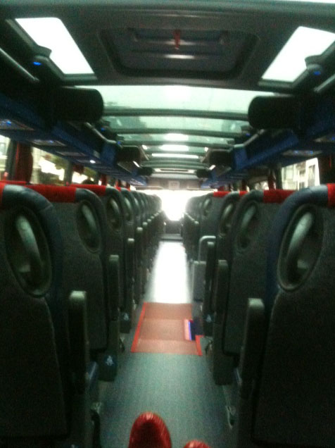 Caption: On board the Facebook bus, Credit: Kristina Loring