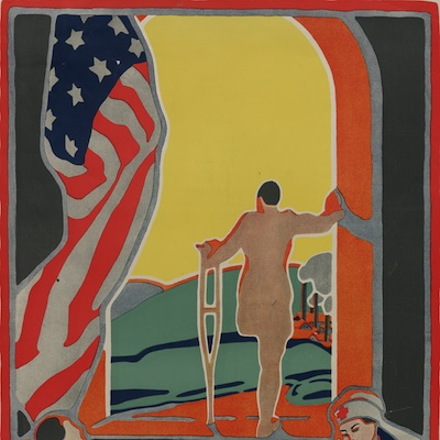 "Caption: Detail from 1919 Red Cross poster, ""Facing the Future: Uncle Sam offers training to every man disabled in the service."", Credit: Library of Congress"