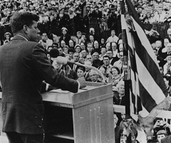 Caption: JFK speaking in Ashland, Wis., during a conservation tour of 11 states, Credit: Courtesy of the Ashland Historical Museum
