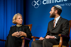 Caption: Reverend Sally Bingham, founder of Interfaith Power and Light, and  Rabbi Yonatan Neril, founder of the Interfaith Center for Sustainable Development., Credit: Ed Ritger