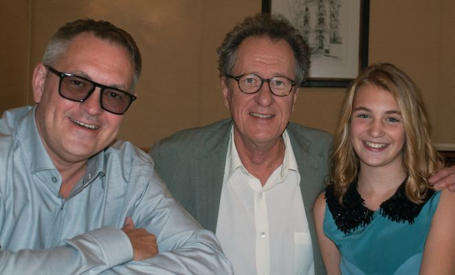Caption: Brian Percival, Geoffrey Rush, Sophie Nelisse, San Francisco, CA  10/4/13, Credit: Andrea Chase