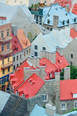 Caption: Colorful Roofs in Québec City