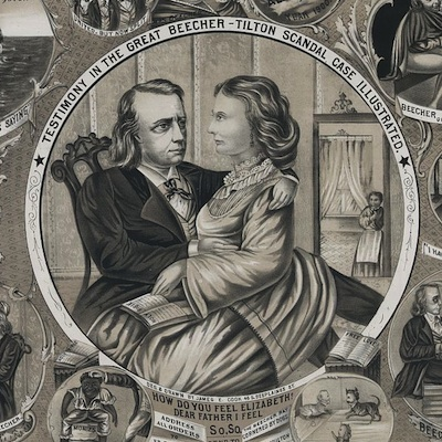 "Caption: ""Testimony in the great Beecher-Tilton scandal case illustrated,"" 1875 lithograph. , Credit: Library of Congress"