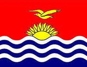 Caption: Flag of Kiribati. According to WorldAtlas.com, the blue and white bands represent the surrounding Pacific Ocean. The frigate bird flying over the rising sun is taken from the coat of arms, and is said to symbolize strength and power at sea.