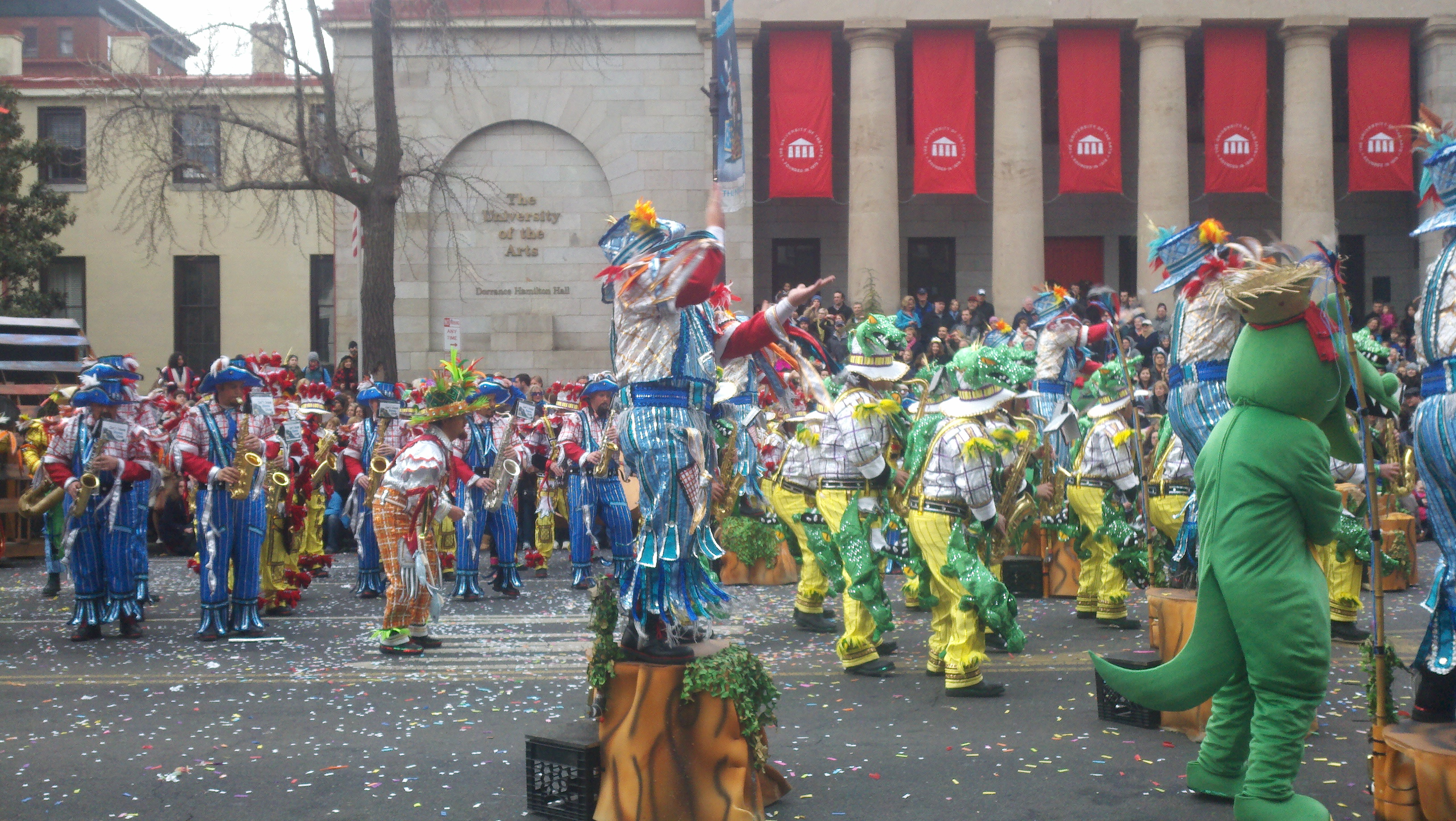 Caption: Mummers Day Parade, Credit: Rebecca Moon