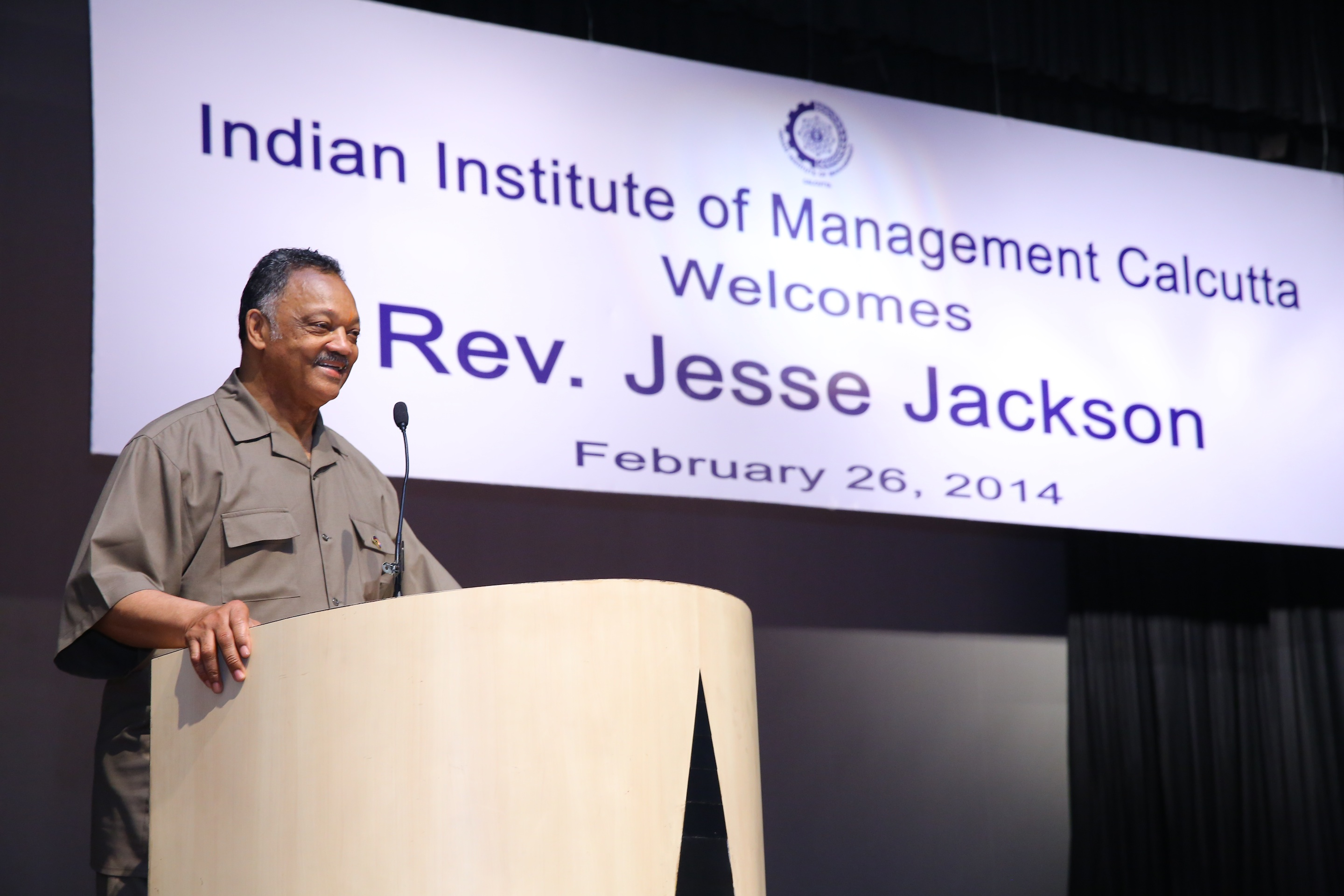 Caption: Jesse Jackson speaks at the IIM, Credit: IIM Calcutta