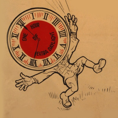 "Caption: ""Victory! Congress Passes Daylight Saving Bill,"" detail from 1918 lithograph, Credit: Library of Congress"