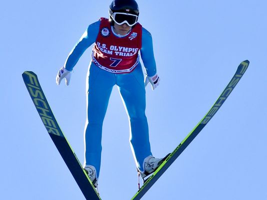 Caption: Jessica Jerome of the U.S. is airborne during her ski jump, Credit: USA Today