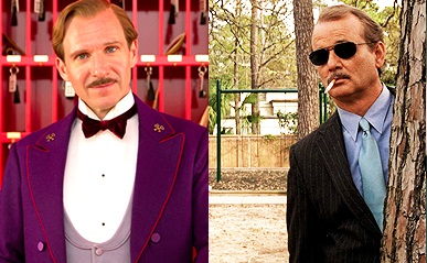 Caption: Ralph Fiennes in 'The Grand Budapest Hotel'; Bill Murray in 'Rushmore'