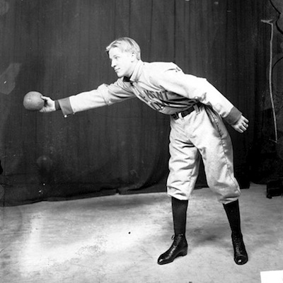 Caption: Player for the Chicago Kent College of Law indoor baseball team, 1910 , Credit: Library of Congress
