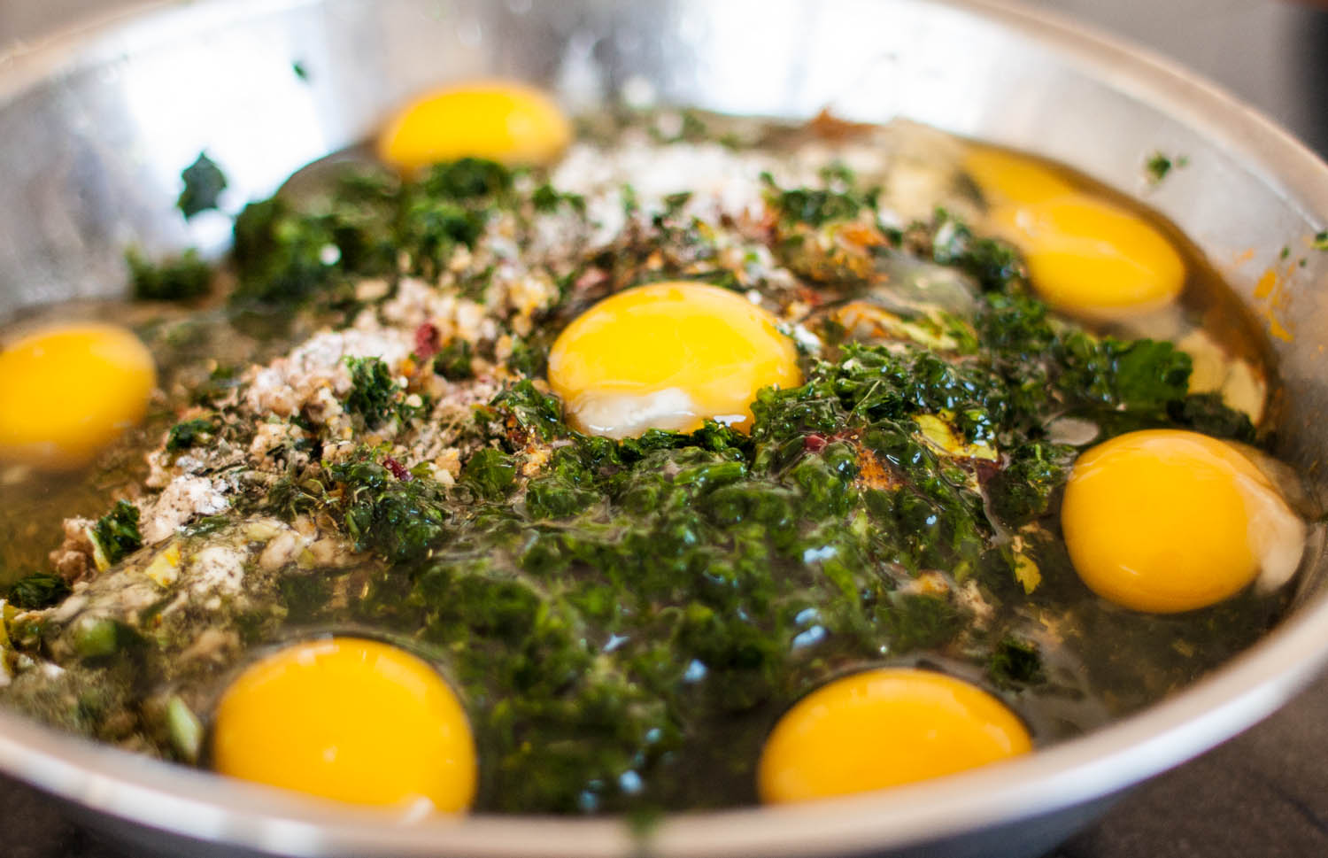 Caption: Kuku Sabzi for Nowruz., Credit: Photo by Mark Rinaldi / Serious Eats.