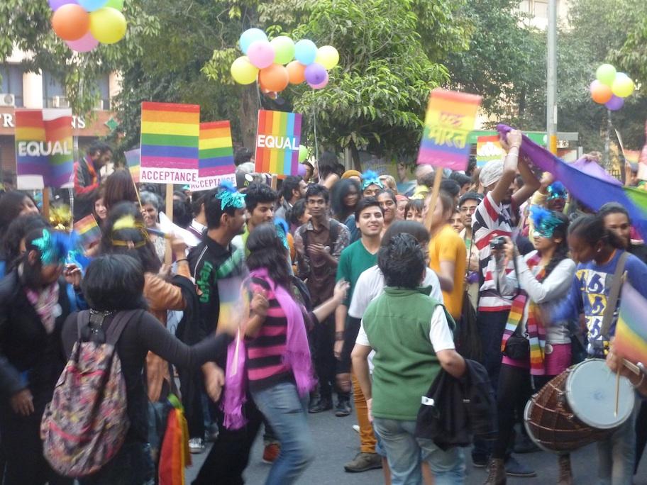 Caption: Pride festivities in New Delhi, Credit: Sandip Roy