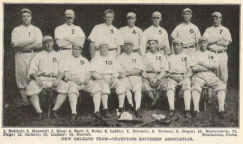 Caption: The 1910 New Orleans Pelicans baseball team; Shoeless Joe Jackson is #12.
